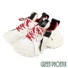 U28-25412 女款小牛皮老爹鞋 國際精品皮革拼接剪裁撞色義大利小牛皮綁帶厚底老爹鞋【GREEN PHOENIX】