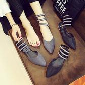 尖頭平底鞋女單鞋包頭水鉆蛇形纏繞羅馬涼鞋