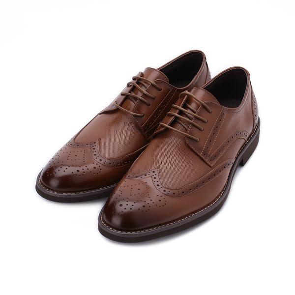 Meurieio Belliei 真皮壓紋雕花德比皮鞋 紅棕 2928-18A 男鞋 鞋全家福