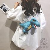 側背恐龍包搞怪小包包女時尚迷你蹦迪鏈條斜背包【小酒窩服飾】