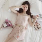冰絲睡衣女士薄款韓版吊帶性感短袖兩件套真絲天套裝家居服  魔法鞋櫃