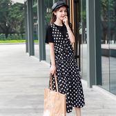 海外發貨不退換圓領上衣背帶洋裝套裝505夏裝新款波點套裝連衣裙胖MM加肥加大大碼女裝(F5044B)