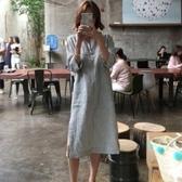 漂亮小媽咪 韓系洋裝 【D1176】 寬鬆 七分袖 條紋 開叉 翻領 開襟 襯衫洋裝 長版襯衫 孕婦裝