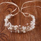 新年鉅惠伴娘新娘婚紗花環頭飾發飾珍珠頭花發箍發帶  小巨蛋之家