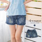 牛仔短褲--韓版時尚磨破貼布繡毛邊造型鬆緊帶綁繩牛仔短褲(藍M-3L)-C104眼圈熊中大尺碼