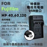 攝彩@超值USB充 隨身充電器 for Fujifilm NP-40 行動電源 戶外充 體積小 一年保固