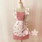 韓版時尚格子花邊工作圍裙女家用廚房可愛花邊日系純棉布做飯圍裙 夢幻小鎮