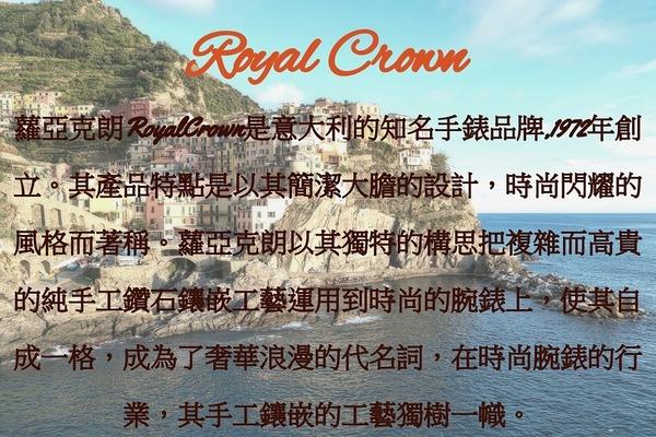 Royal Crown - 39mm玫瑰金框黑陶瓷腕錶 RC女錶 情侶錶對錶