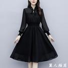 黑色ins 長袖洋裝 適合胖人的裙子顯瘦女裝大碼胖mm中長款肉雪紡連身裙女 『麗人雅苑』