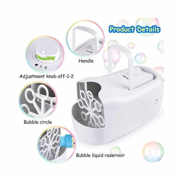 TOLOCO 泡泡機 自動吹泡泡 USB充電 Automatic Blower Portable Bubble Maker 黑/白 [2美國直購]