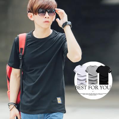 T恤 左袖異材質造型拉鍊素面短T【N9678J】