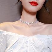 項圈 滿鉆珍珠項圈女日韓網紅短款項鏈脖子飾品choker頸帶性感鎖骨鏈 小衣里