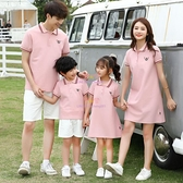 夏季新款一家四口全家裝短袖T恤母女連衣裙純棉【聚可愛】