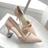 新款韓版少女小清新高跟鞋女細跟百搭淺口尖頭涼鞋女鞋潮   蓓娜衣都