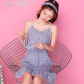 吊帶性感睡裙女夏季純棉質可愛寬鬆家居服薄款背心裙睡衣「Chic七色堇」