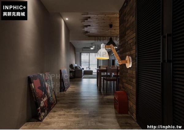 INPHIC- 北歐創意實木床頭搖頭調節壁燈復古個性書房咖啡廳簡約壁燈_S197C