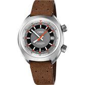 Oris豪利時 CHRONORIS 日期機械錶-灰x咖啡/39mm 0173377374053-0751943