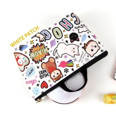 Jetoy,甜蜜貓 提袋式 化妝包_White patch