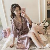 性感睡衣女夏季短袖日系復古繫帶睡袍薄款冰絲綢中長款浴袍家居服 科炫數位