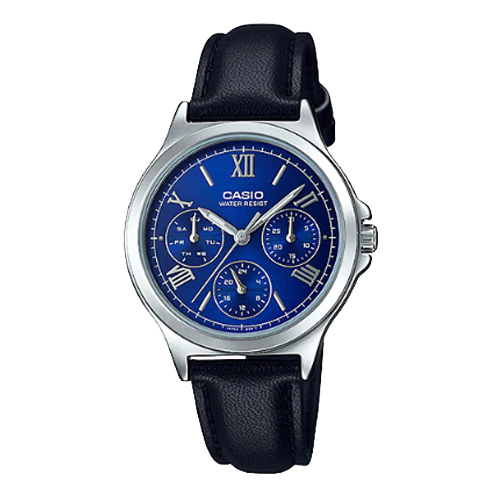 CASIO 卡西歐 手錶專賣店 LTP-V300L-2A2 女錶 皮革錶帶 防水 羅馬三眼指針女錶 普魯士藍 生活防水