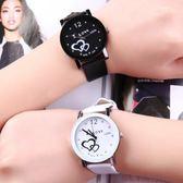 全館免運正韓學生手錶女白色電子男錶黑色皮帶學生情侶錶一對簡約時尚 全館八五折
