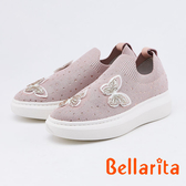 bellarita.華麗蝴蝶水鑽針織休閒鞋(0402-65粉色)