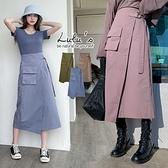 出清特價【A05200091】Y自訂款側腰帶長裙3色