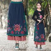 洋裝 春夏新款民族風 花布拼接 貼布繡花 不規則半身裙