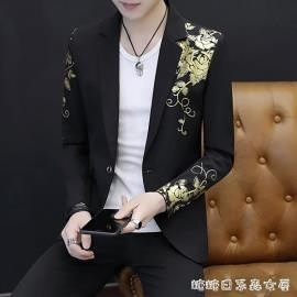 男士韓版修身西服男夏季帥氣個性小西裝夜場男裝休閒西裝薄款外套 交換禮物