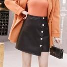 單排扣pu小皮裙短裙女2020秋冬新款高腰顯瘦半身裙藍色百搭a字裙