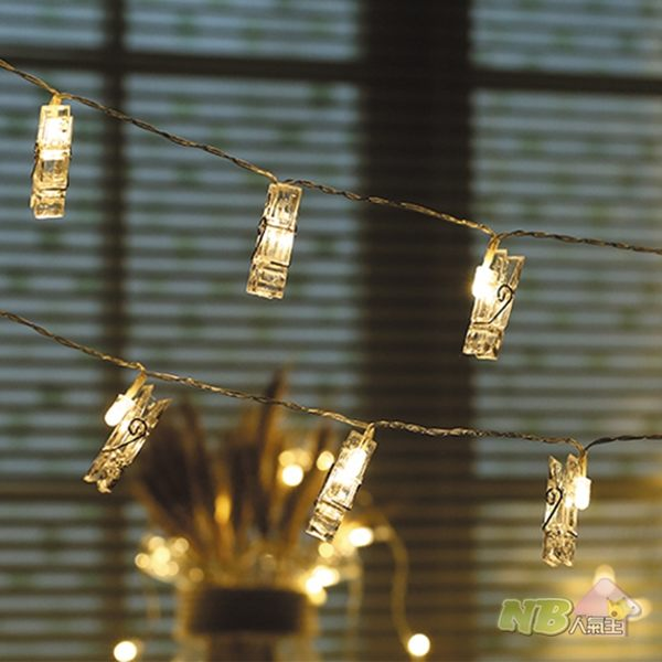 USB接頭 暖光 LED 夾子造型 燈串 燈飾 (3米/20燈)