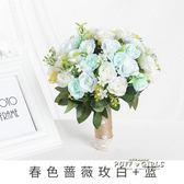 新款手捧花白色女拍照婚紗照攝影道具仿真韓式婚禮新娘小手拿花束   泡芙女孩輕時尚