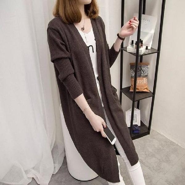 漂亮小媽咪 修身 顯瘦 針織外套【C9588】女裝 毛衣外套 女 百搭 中長款 寬鬆 針織衫 開衫 外套