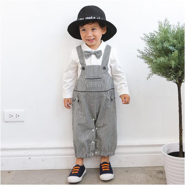 Augelute Baby 假兩件領結條紋吊帶連身衣 60310