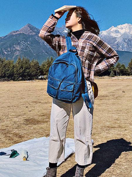 克妹Ke-Mei【ZT53828】本季重推!重軍風多拉鍊式口袋水洗牛仔後背包