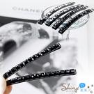 【30A98】shiny藍格子-輕鬆搭配.黑色水晶小方塊造型髮飾/一字髮夾