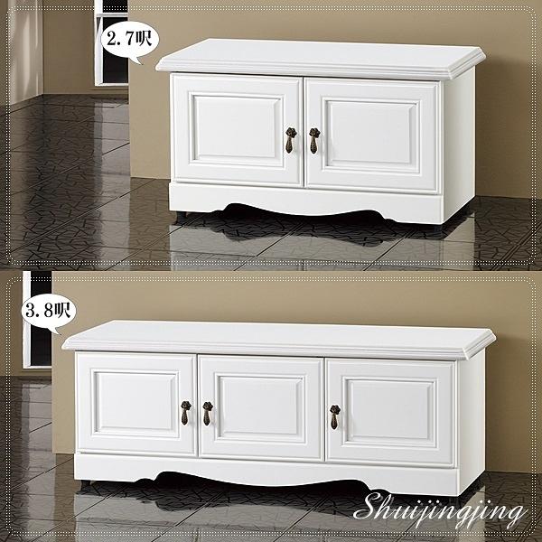 【水晶晶家具/傢俱首選】CX1627-5 懷特3.8呎烤白三門坐鞋櫃(下圖)