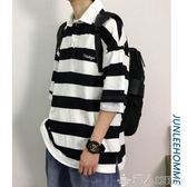 歡慶中華隊19ss夏季條紋短袖t恤男士韓版寬鬆休閒上衣ins潮流半袖polo衫