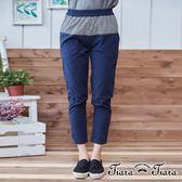 【Tiara Tiara】細格紋拼接彈性棉質長褲(深藍/黑)