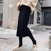 中長款針織半身裙一步裙包臀裙女秋冬季高腰長裙加厚開叉毛線裙子 幸福第一站