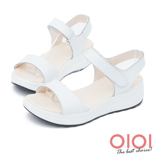 楔型涼鞋 簡約原色真皮楔型涼鞋(白)*0101shoes【18-178w】【現貨】