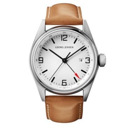 喬治傑生(GEORG JENSEN)-DELTA CLASSIC GMT石英白面咖錶帶-42mm