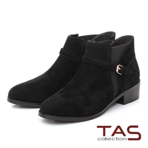 ★2017AW★TAS 麂皮拼接皮帶扣粗跟短靴-率性黑