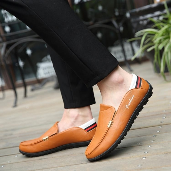 男士豆豆鞋韓版休閒鞋皮鞋一腳蹬懶人鞋子百搭男鞋潮 交換禮物