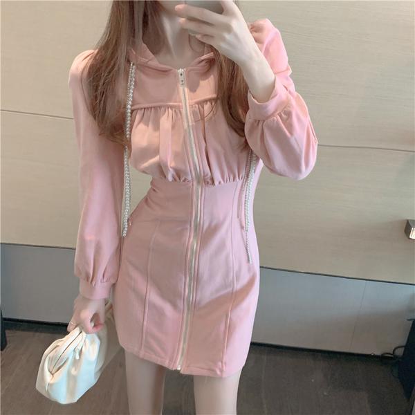 VK精品服飾 韓國風珍珠連帽休閒收腰拉鏈時尚長袖洋裝