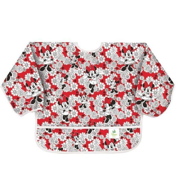 [寶媽咪親子館]美國 bumkins Sleeved Bib  長袖防水圍兜 迪士尼款 紅花米妮
