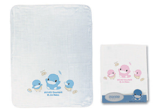 【奇買親子購物網】酷咕鴨KU.KU. 紗布大浴巾(藍色/粉色)