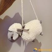 可愛小羊毛毛包包女包洋氣百搭卡通毛絨斜挎小包【勇敢者戶外】