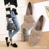 豆豆鞋女冬新款社會兔毛加絨單鞋子外穿尖頭平底一腳蹬毛毛鞋 一米陽光