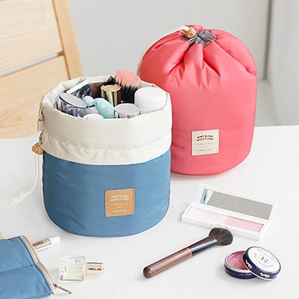 韓版packing優雅旅行大容量抽帶化妝包女 圓桶洗漱包 收納包